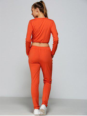 Hot Cropped Sweatshirt and High Waisted Ripped Pants - L ORANGE RED Mobile