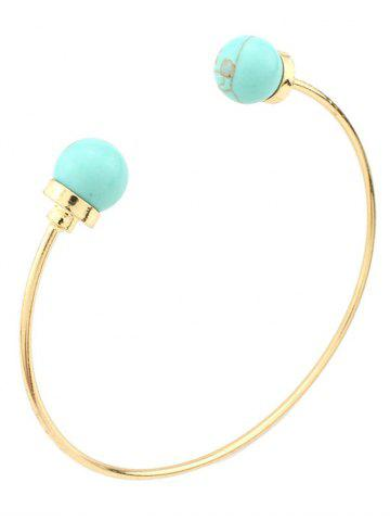 Chic Artificial Turquoise Beads Bohemian Cuff Bracelet GREEN