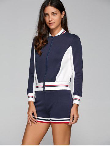 Online Active Shorts With Baseball Running Jacket NAVY BLUE L