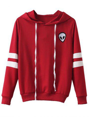 Cheap Striped Alien Embroidered Hoodie RED XL