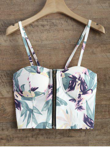 Buy Floral Zipper Padded Cami Cropped Tank Top