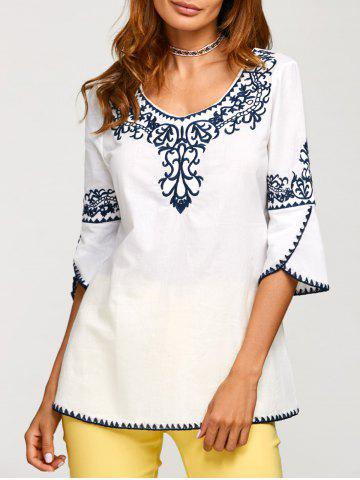 Latest Fall Ethnic Embroidery Covered Edge T-Shirt
