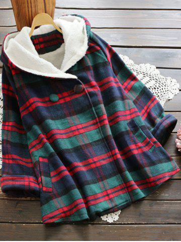 Trendy Plaid Hooded Swing Coat COLORMIX ONE SIZE