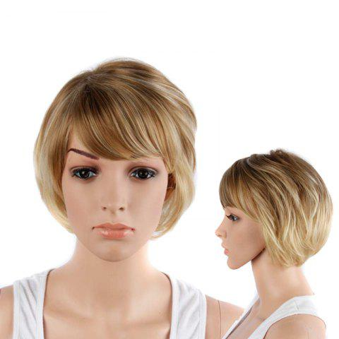 Unique Graceful Short Double Color Side Bang Straight Synthetic Wig
