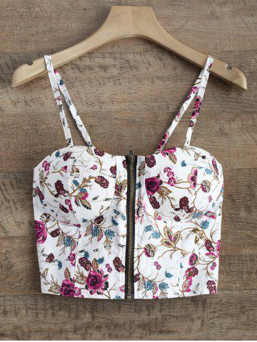Best Floral Zip Front Padded Cami Cropped Tank Top