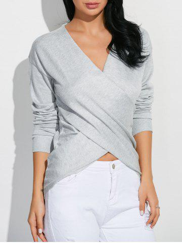 Online Cross Front Pullover Sweater - ONE SIZE GRAY Mobile