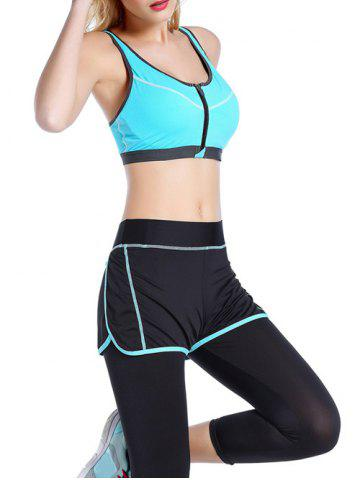 Fashion Front Close Zipper Sporty Bra - AZURE S Mobile