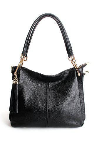 Shop Leather Double Tassels Shoulder Bag BLACK