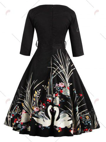 Outfit Vintage Printed Fit and Flare Waisted Dress - 2XL BLACK Mobile