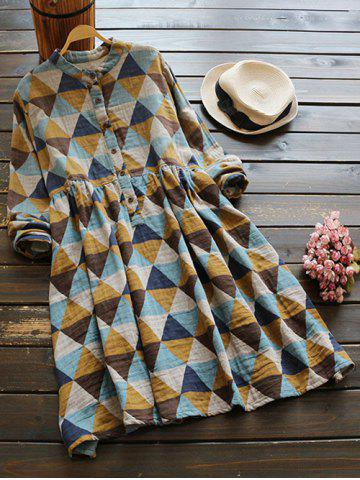 Buy Buttoned Long Sleeve Geometric Smock Checked Shirt Dress