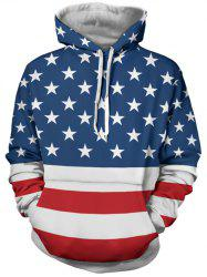 Stars and Stripes Pattern Long Sleeve Hoodie - COLORMIX