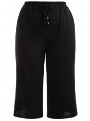 Plus Size High Waisted Crop Wide Leg Pants - BLACK