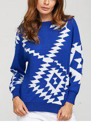 Geometric Crew Neck Knit Sweater
