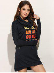 Casual Long Sleeve Letter Print Sweatshirt Dress