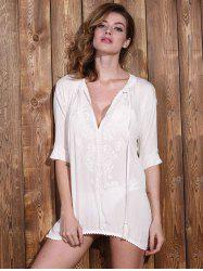 Stylish Plunging Neck Long Sleeve Embroidery Women's Cover Up -