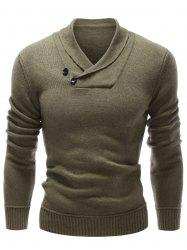 Shawl Collar Button Embellished Pullover Sweater - OLIVE GREEN XL