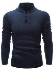 High Neck Button Embellished Pullover Sweater