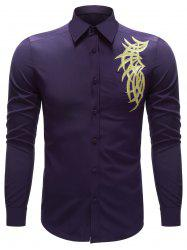Embroidered Turn-down Collar Button Up Shirt - PURPLE