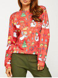 Angel Snowman Print Sweatshirt
