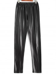 Plus Size Faux Leather Pencil Pants - BLACK
