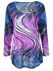 Plus Size Tie-Dye Long Sleeve T-Shirt - BLUE + PURPLE