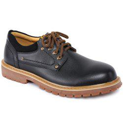 Round Toe Lace Up Vintage Casual Shoes - BLACK