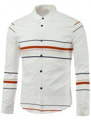 Color Block Stripe Turn-Down Collar Long Sleeve Shirt