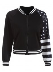 Stars Stripe Print Short Jacket - BLACK