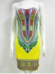 Printed Sleeveless Strapless African Dress