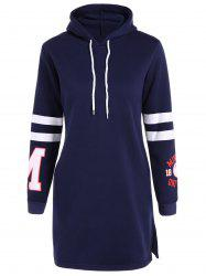 Letter Patched Hoodie Dress -