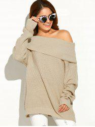 Drop Shoulder Ribbed Cowl Neck Sweater