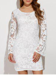 Criss-Cross Lace Long Sleeve Bodycon Dress