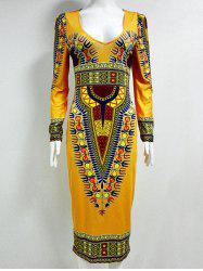 Tribal Printed  Fitted Plunge Indian Dress - DEEP YELLOW 2XL