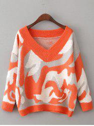 Drop Shoulder Camouflage Pattern Sweater - ORANGE RED ONE SIZE