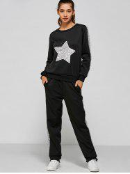 Slivery Star Sequin Sweatshirt and Panel Pants - BLACK XL