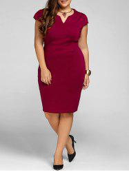 Plus Size Cape Sleeve Sheath Dress