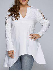 Plus Size Asymmetric Hem Lacework Splicing Top
