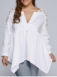 Plus Size Lacework Splicing Asymmetric Blouse - WHITE 3XL