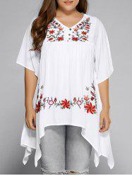 Plus Size Asymmetric Hem Floral Embroidered Top - WHITE