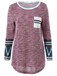 Zigzag Patchwork Single Pocket T-Shirt