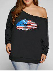 Plus Size American Flag Print Sweatshirt - BLACK
