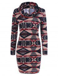 Tribal Pattern Cowel Neck Dress - COLORMIX