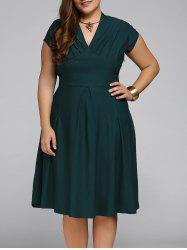 V Neck Plus Size Cape Sleeve Deep Party Skater Dress
