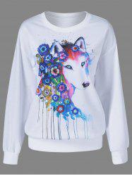 Fox Pattern Drop Shoulder Sweatshirt -