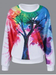 Tie-Dye Tree Pattern Sweatshirt - WHITE
