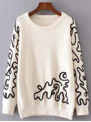 Crew Neck Jacquard Pullover Sweater -