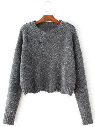 Crew Neck Pullover Knit Sweater - GRAY M