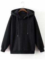 Drawstring Drop Shoulder Pullover Flocking Hoodie