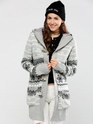 Horn Button Geometric Pattern Cardigan