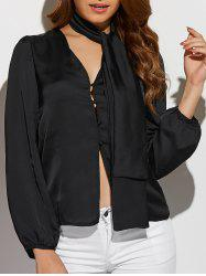 Long Sleeve Single-Breasted Blouse with Scarf